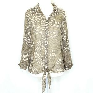 Chico's 3/4 Sleeve Button Front Blouse Shirt 8